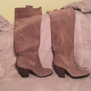 Tan suede pull on slouchy over the knee boots